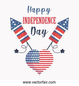 Usa independence day flag heart with fireworks vector design