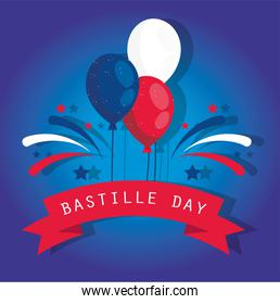 france balloons with ribbon of happy bastille day vector design