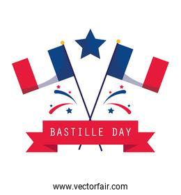 france flags with star and ribbon of happy bastille day vector design