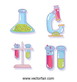 science test tube beaker microscope research laboratory icons