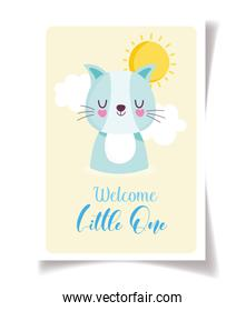baby shower cute little cat celebration, welcome invitation template