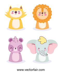 baby shower cute little animals cartoon character icons