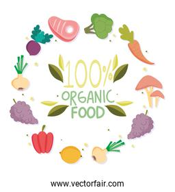 healthy food, lettering organic fruits and vegetables balance nutrition diet