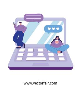 young couple with smartphone and laptop love chatting