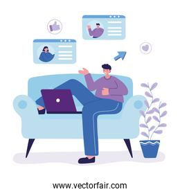 young man character with laptop chatting sitting on sofa