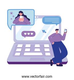young man character with smartphone chatting with woman