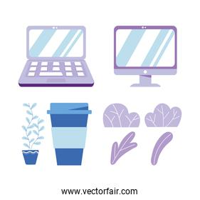 laptop computer monitor device technology coffee cup plants icons