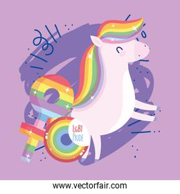lgtbi horse cartoon with seal stamp and female gender vector design