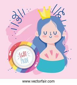 Girl cartoon with crown and lgtbi seal stamp vector design