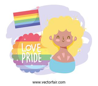 Girl cartoon with lgtbi flag and seal stamp vector design