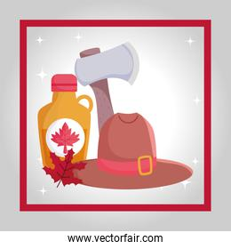 Canadian maple syrup axe and hat vector design