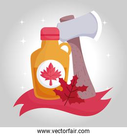 Canadian maple syrup and axe vector design