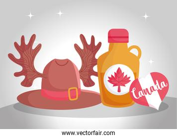 Canadian maple syrup and hat with horns vector design