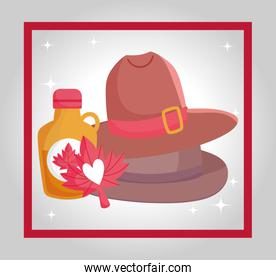 Canadian maple syrup and hat vector design
