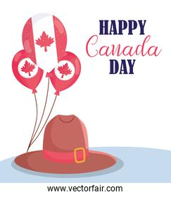 Canadian balloons and hat of happy canada day vector design