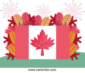 Canadian flag and autumn leaves vector design