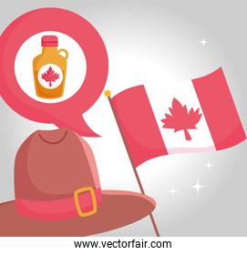 Canadian flag maple syrup and hat vector design