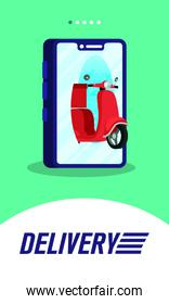delivery scooter motorcycle in smartphone technology