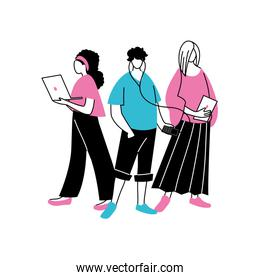 group of faceless people using technological gadgets