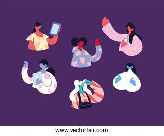 young women using technological gadgets