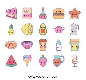 Kawaii food cartoons line and fill style icon set vector design
