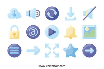 Social media and web flat style icon set vector design