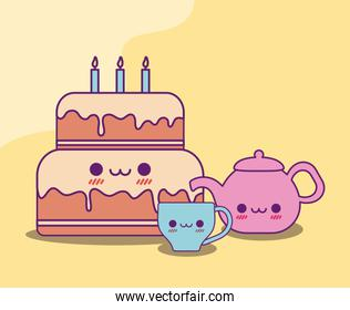 Kawaii cake coffee cup and kettle vector design