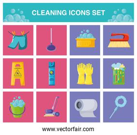 set of icons cleaning on white background