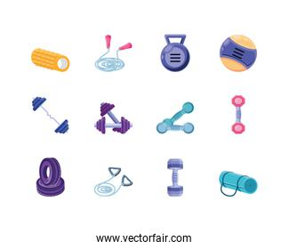 set of icons fitness on white background