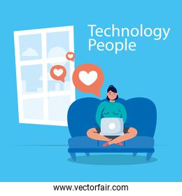 man technology with laptop character