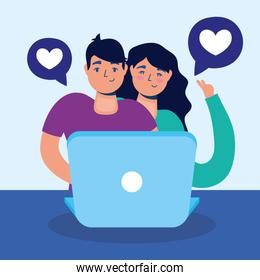 couple technology with laptop characters