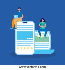 couple technology with laptop and smartphone