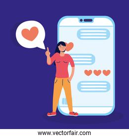 woman technology with smartphone character