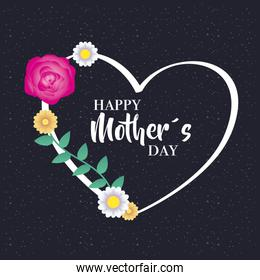 happy mothers day card with floral heart frame