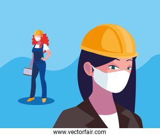 Architect and builder woman with mask and helmet vector design