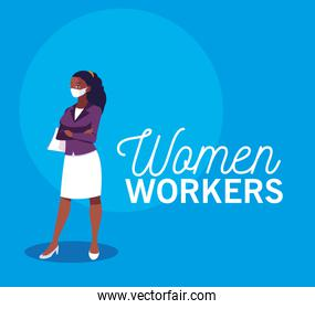 Businesswoman with mask and document vector design