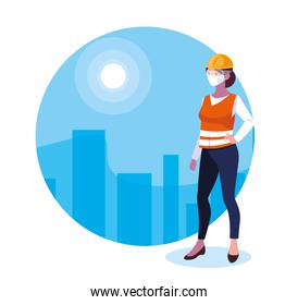 Builder woman with mask and helmet vector design