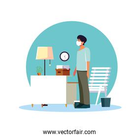 Man feeling sick at home vector design