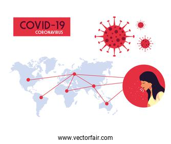 Woman and world map with covid 19 virus vector design
