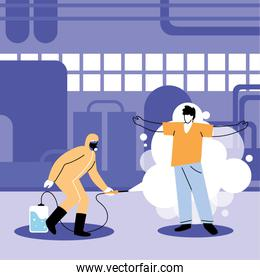 man in suit disinfecting human in industry