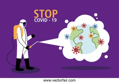 man in suit at world disinfection job by covid-19
