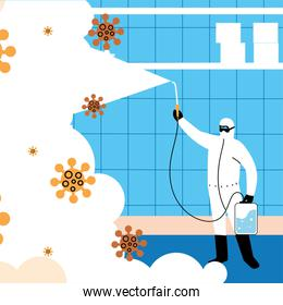 man in suit disinfecting the industry