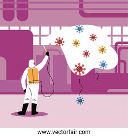 man in suit disinfecting the industry by covid-19