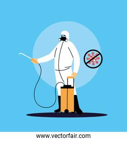 person in suit to work disinfection by covid-19