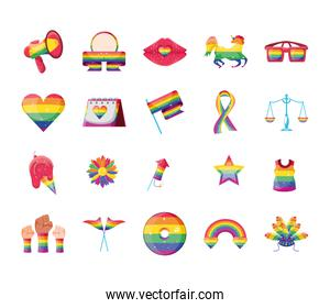 set of icons gay pride