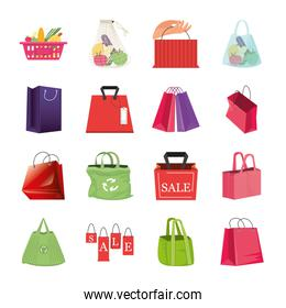 set of icons shopping bags on white background