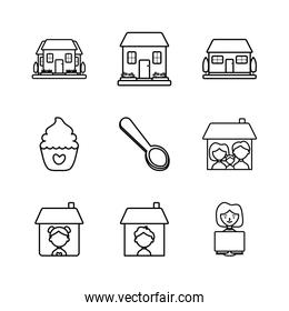 people in home and stay at home icon set, line style