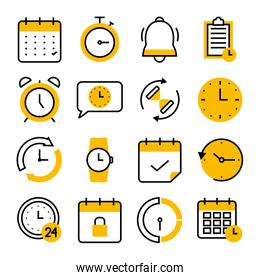 stopwatch and time icon set, half color half line style