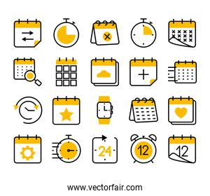 calendars and time icon set, half color half line style