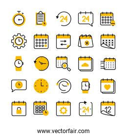clipboard and time icon set, half color half line style